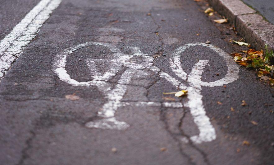 Close up of cycle lane
